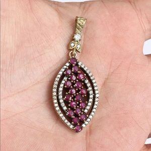 Sultan Ottoman Almond Ruby Silver Bronze Pendant